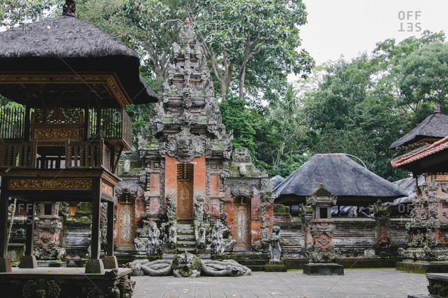 Temple complex in the monkey forest of Ubud Indonesia