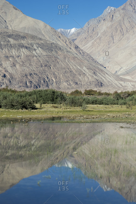 The Nubra Valley with a view of the Karakhorum massif