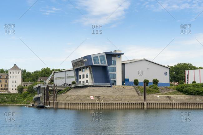 June 11, 2020: Duisburg, Vinckekanal, shipyard port
