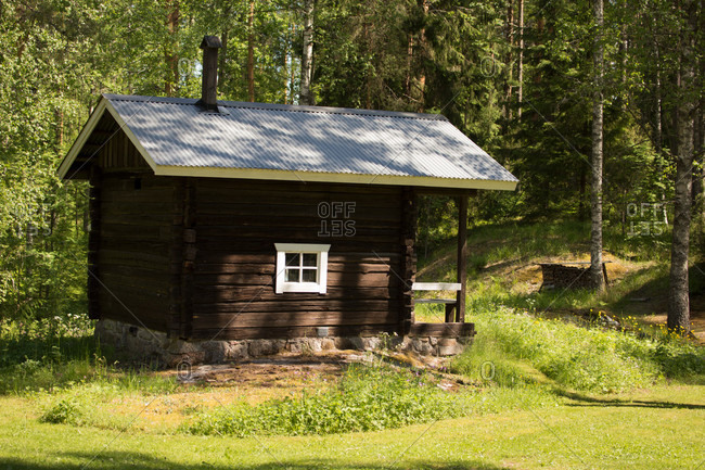 Smoke sauna, middle of forest, countryside, Finland