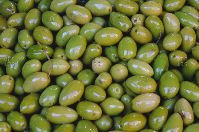 Olive groceries in the Marrakesh market in Morocco