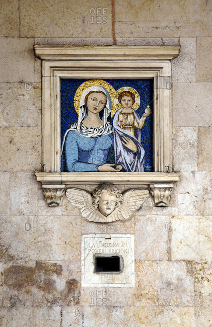 June 17, 2018: House, mosaic, Pisa, Tuscany, Italy