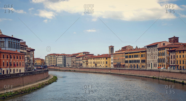 Panorama, Arno river, houses, Pisa, Tuscany, Italy