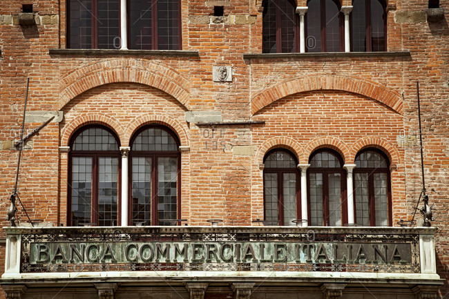 June 15, 2018: House, bank, Lucca, Tuscany, Italy