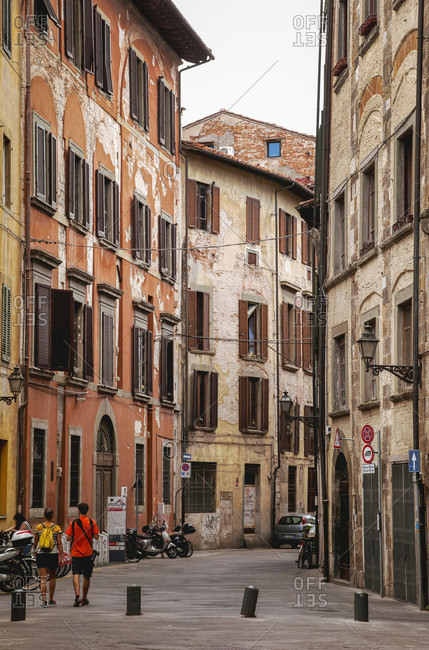 June 17, 2018: House, alley, Pisa, Tuscany, Italy