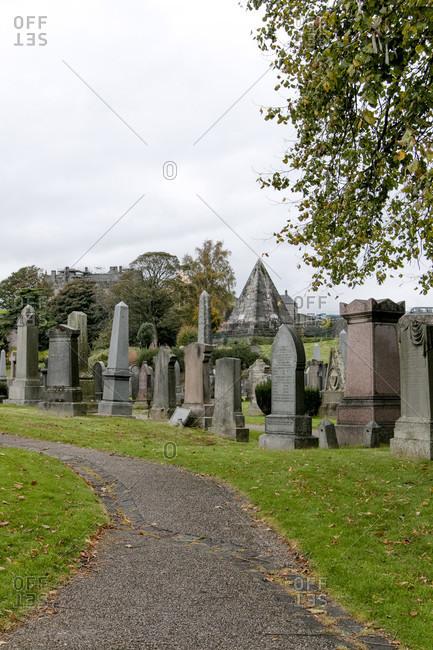 October 9, 2017: Cemetery in Edinburgh Scotland