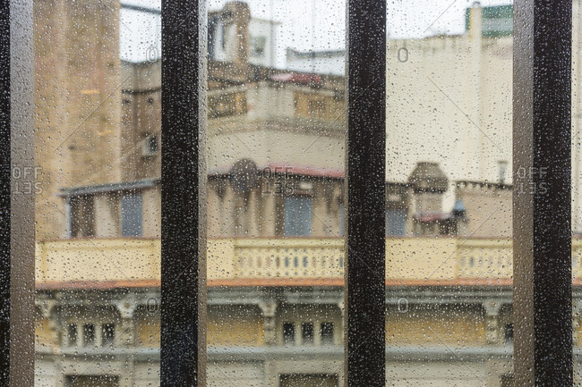 Barcelona, old town, window with raindrops