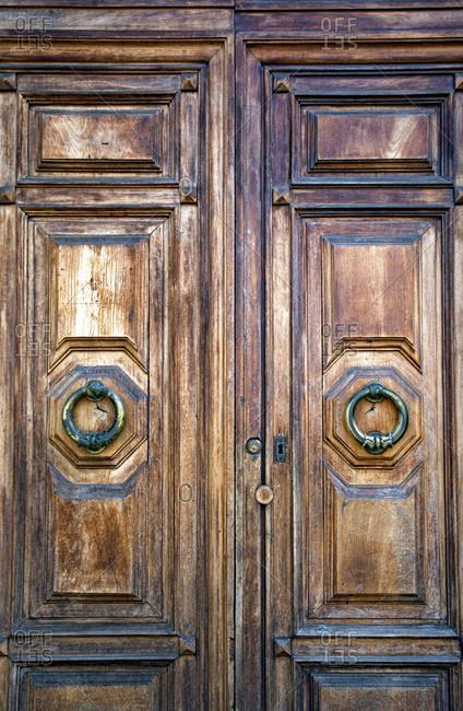 Door knocker, door, Pisa, Tuscany, Italy
