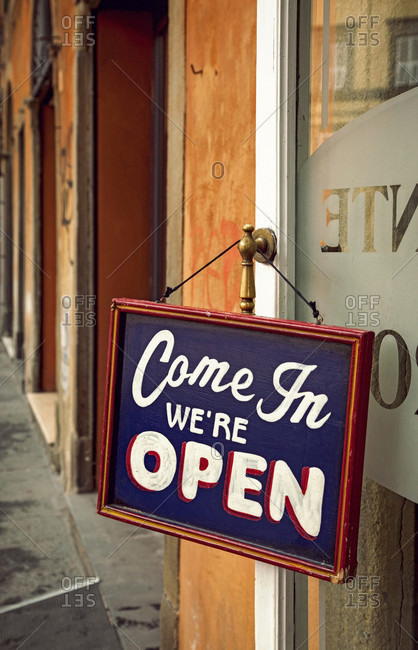 Shop, Sign, Open, Lucca, Tuscany, Italy