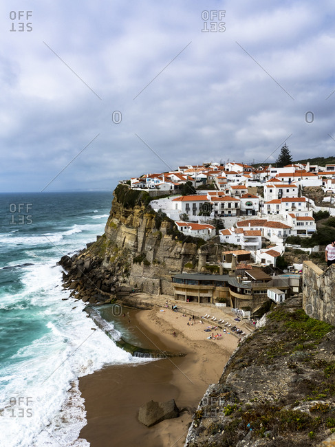 July 10, 2017: Portugal- Lisbon District- Azenhas do Mar- Seaside town at edge of coastal cliffs
