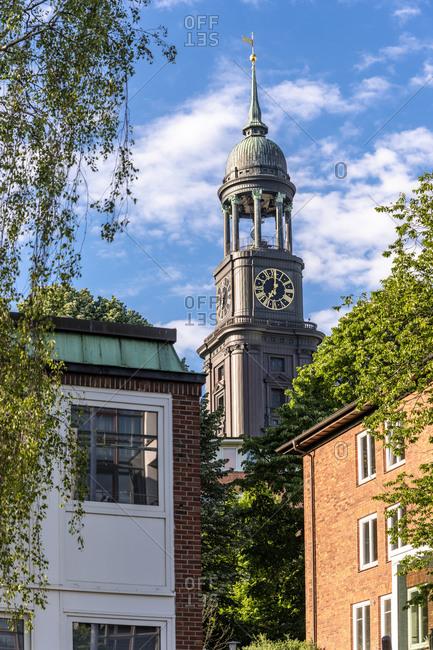 Germany- Hamburg- Bell tower of historic Saint Michaels Church