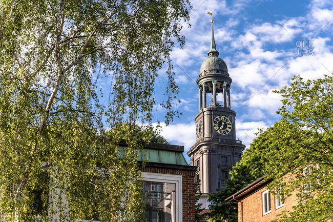 Germany- Hamburg- Bell tower of historic SaintMichaelsChurch