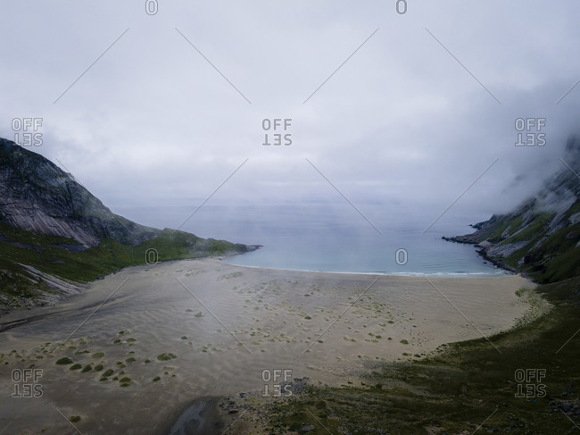 Coastline covered with cloudscape at Helvetestinden- Lofoten- Norway