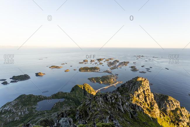 Islands against seascape at Festvagstinden- Lofoten- Norway