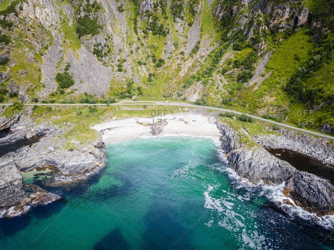Coastline by road and mountain at Andoya- Norway