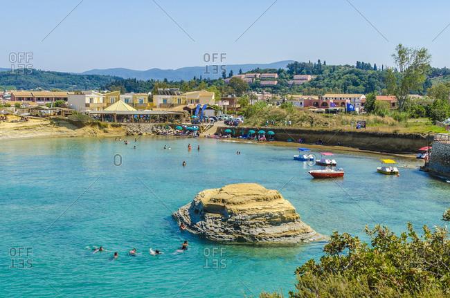 August 3, 2020: Residential building by coastline at Sidari- Corfu- Greece
