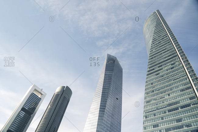 November 24, 2020: Spain- Madrid-Tall modern skyscrapers