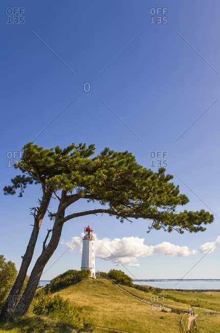 Germany- Mecklenburg-Western Pomerania- Dornbusch Lighthouse standing at coast of Hiddensee island