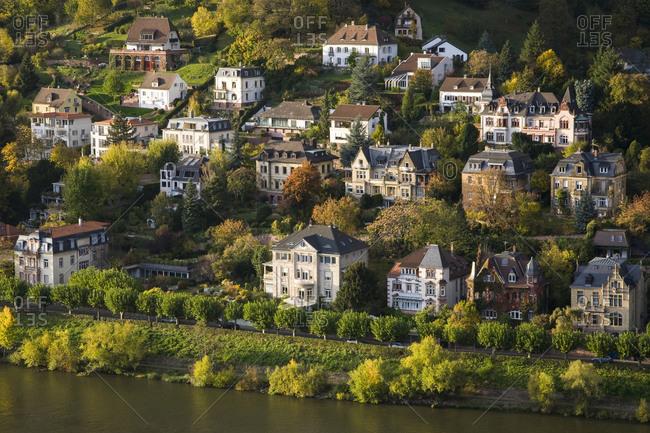 Germany-Baden-Wurttemberg- Heidelberg- Villas on bank of Neckar river