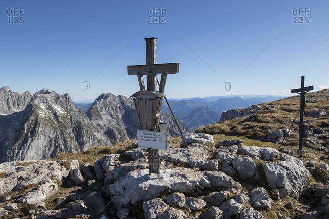 Summit cross on Schneibstein mountain at Berchtesgaden Alps- Austria