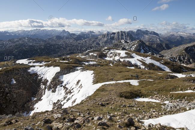 Beautiful mountain range scenery from Schneibstein to the Steinerne Meer mountains- Austria