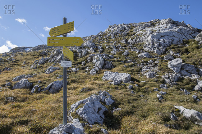 Hiking sign on mountain at Windscharte- Austria