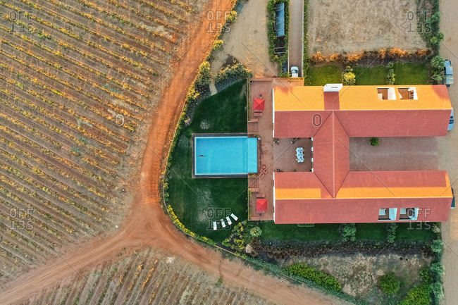 Aerial view of Vineyard estate, Quintos, Portugal.