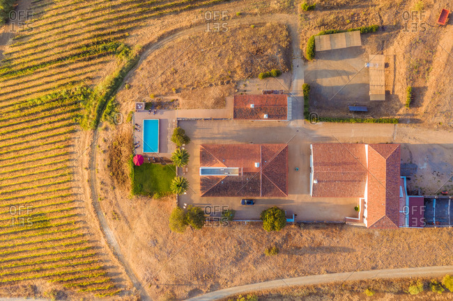 Aerial view of beautiful villa estate, Portugal.