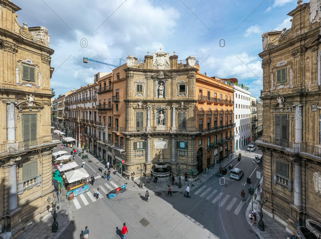 July 29, 2020: Palermo, Italy 29 July 2020: Aerial view of pedestrian streen in the city centre.
