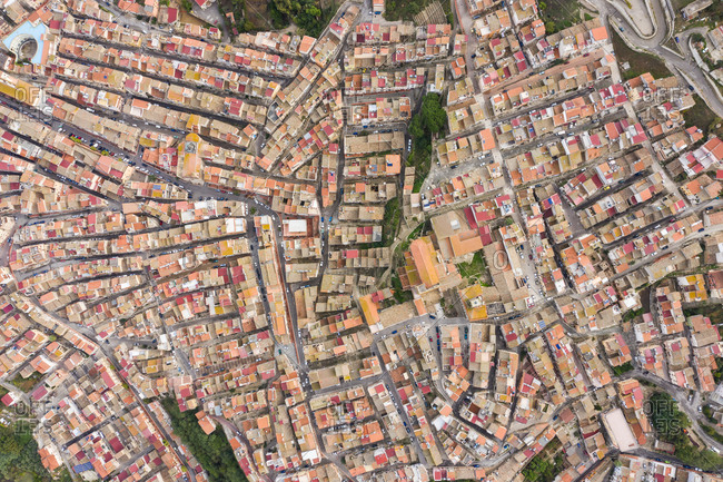 Aerial view of the picturesque town of Alia, Sicily, Italy.