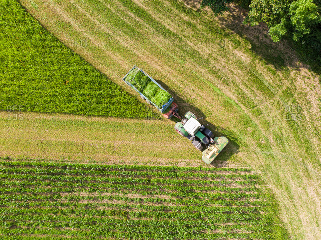 Aerial view of tractor harvesting and cutting field for hay.