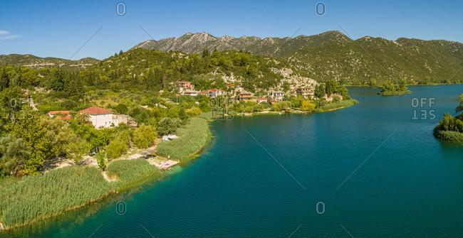 Aerial view of Bacina fresh water lakes in South Dalmatia, Croatia.