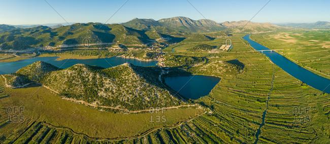 Panoramic aerial view of the Neretva delta valley river near Ploce, South Dalmatia, Croatia.