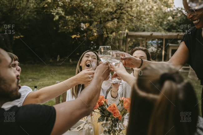 Cheerful young woman toasting drinks with friends during social gathering