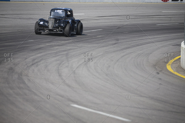 Cape Carteret, North Carolina - June 10, 2017: A black Legends race car at a local paved quarter mile track