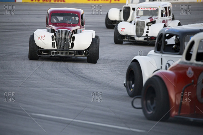 Cape Carteret, North Carolina - June 10, 2017: Legends race cars competing at a local paved quarter mile track