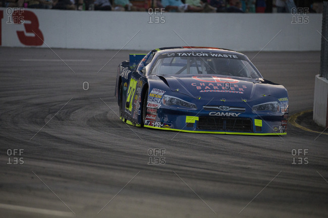 Cape Carteret, North Carolina - June 10, 2017: A Late Model race car at Turn 3 of a local paved quarter mile track