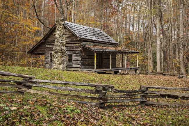 Old wooden cabin in an autumn forest in Great Smoky Mountains National Park, Cataloochee, North Carolina