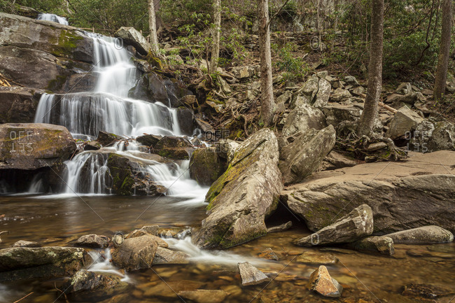 Beautiful waterfall at Laurel Falls in the Great Smoky Mountains National Park in Tennessee