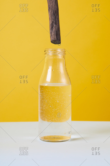 Glass bottle with stick of sandal wood and organic oily essence placed on pastel background in studio