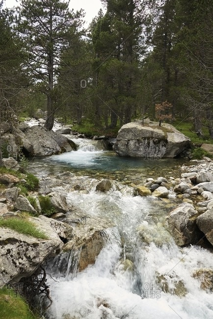 Wonderful clean lake with transparent water in woods in highland in Barrosa cirque
