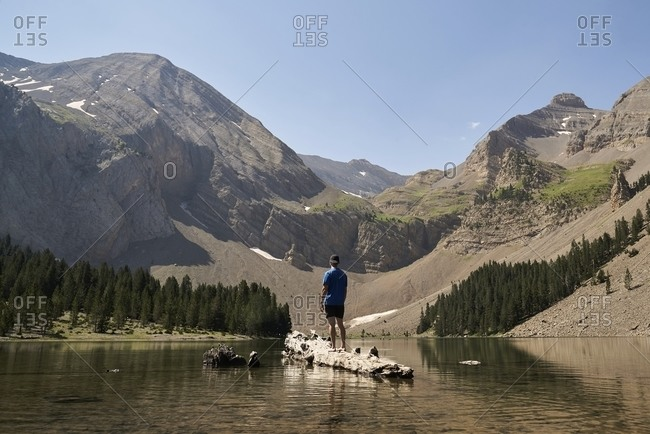 Back view of male explorer standing on tree trunk in clear pond and enjoying view of majestic mountainous landscape in summer