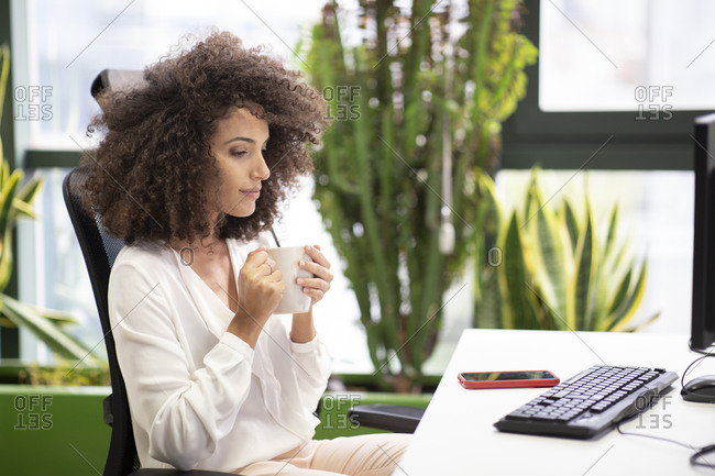 Side view of young ethnic businesswoman with afro hairstyle sitting at table with computer and drinking coffee while thinking about project in modern office