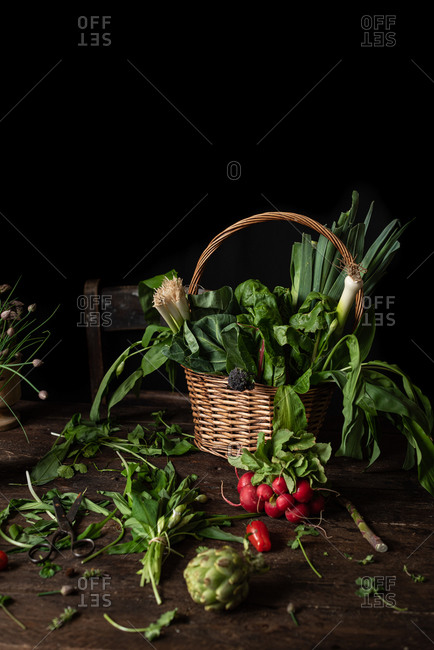 Wicker basket with various fresh green edible herbs placed on wooden table with bunch of radish and scattered leaves