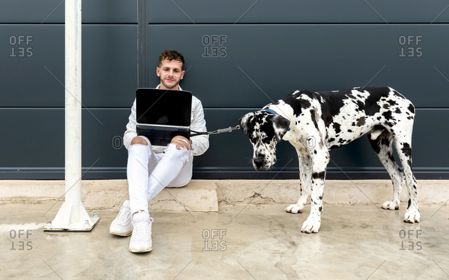 Male freelancer sitting on street with Great Dane dog and working on remote project via laptop