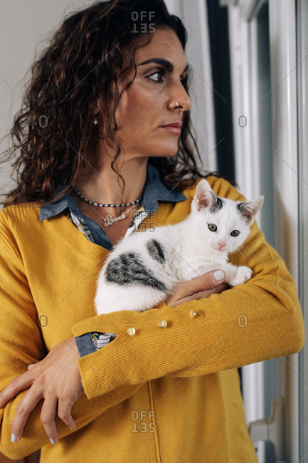 Cute little white spotted cat resting on arm of female owner at home
