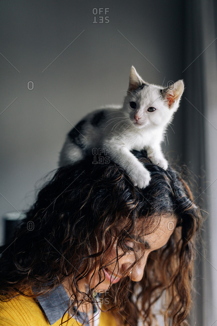 Side view of smiling female owner with white funny adorable little kitten on head resting at home