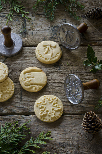 Holiday cookies stamped with greetings