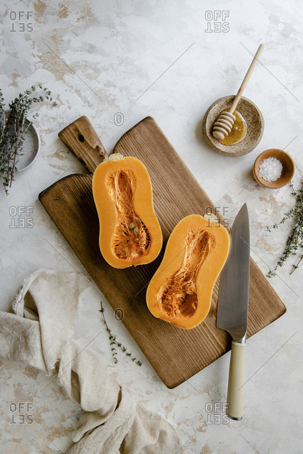 Sliced butternut squash preparation, top view