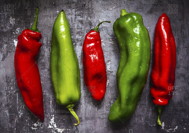 Washed red and green peppers